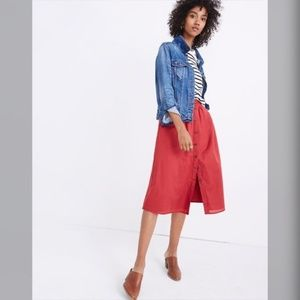 NWT $98 Madewell Palisade Button-Front Midi Skirt